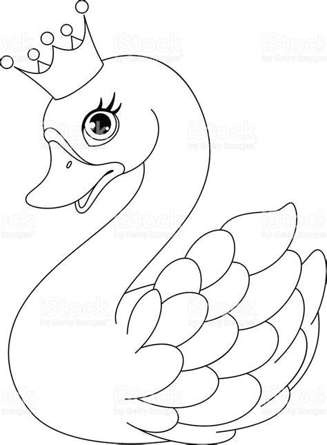 clipart da colorare swan princess coloring page stock vector 498368512