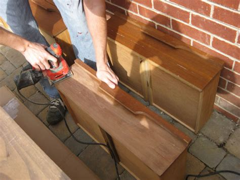 sanding a dresser to stain nursery progress how to refinish a veneer dresser young