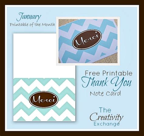 free email thank you card template printable quot merci quot thank you note card january free