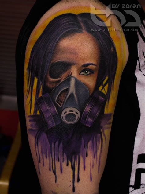 tattoo girl with mask gas mask girl tattoo by zoran by tattoohardcore on deviantart