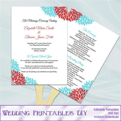 aqua blue and red wedding fan programs by
