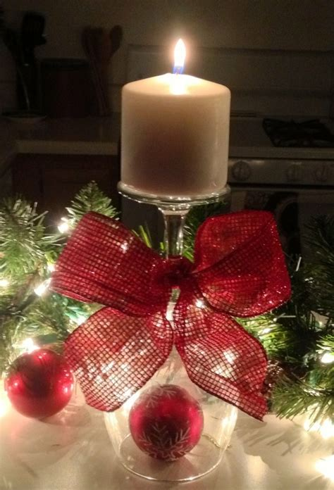wine glass candle holder mantle