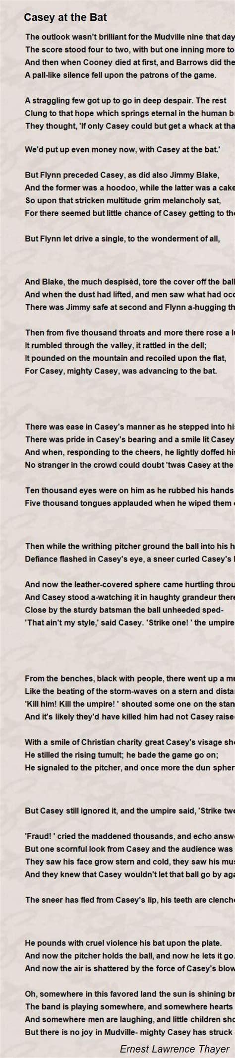 printable version of casey at the bat casey at the bat poem by ernest lawrence thayer poem hunter