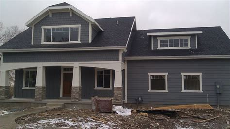 exterior agreeable exterior decoration with black roof tile and grey hardie wood siding