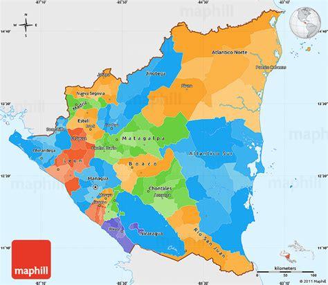 political map of nicaragua political simple map of nicaragua single color outside