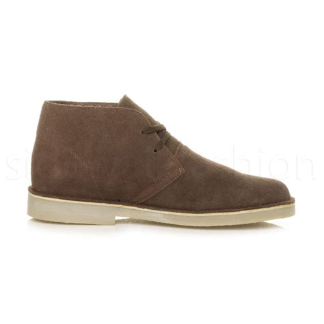 mens lace up classic desert suede leather casual ankle