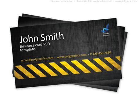 builders business cards psd templates business card template construction hazard stripes theme
