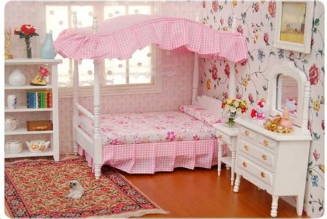1 12 dollhouse miniature bedroom furniture canopy bed