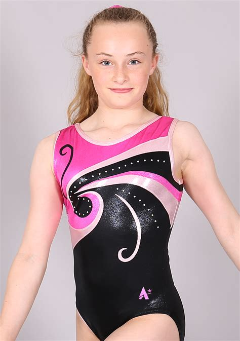 emily silver star emily pinks and black with diamante gymnastics leotards