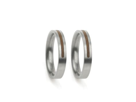 wedding ring forever in white gold with wood inlay the
