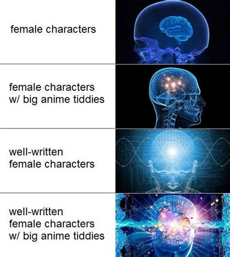 Brain Meme Generator - well written female characters with big anime tiddies