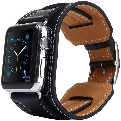 Kakapi Genuine Leather Cuff Bracelet   Apple Watch 42mm (Black)