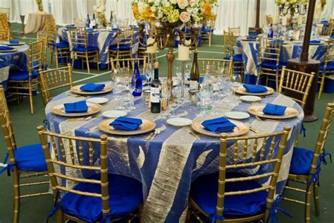 gold and royal blue decorations wedding