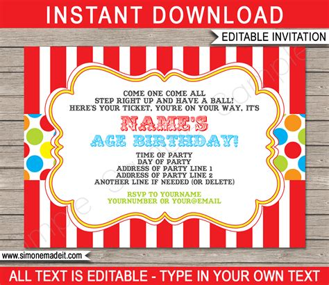 circus invitation template carnival invitation template carnival invitations