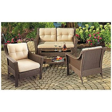 Indoor Patio Furniture Sets Cambridge Indoor Outdoor Patio Furniture Set Resin Wicker 4 Pc With Cushioned Loveseat And 2 Arm