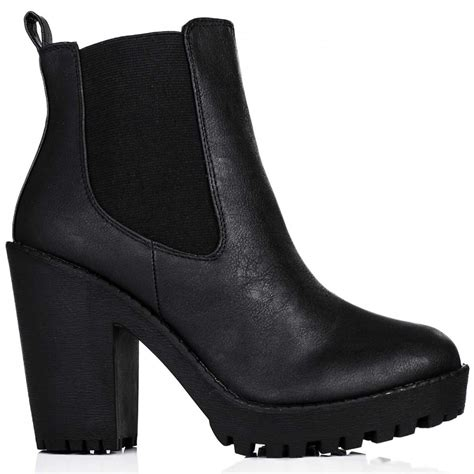 buy physical heeled platform chelsea ankle boots black