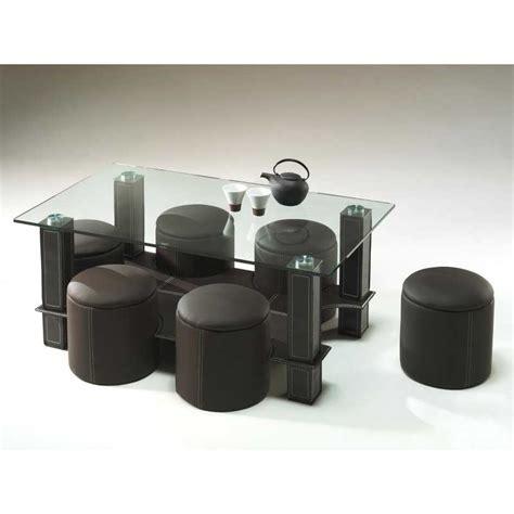 table basse avec 6 poufs encastrable verre simili cuir