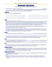 Roommate Agreement Template by Free Michigan Roommate Agreement Template Pdf Eforms