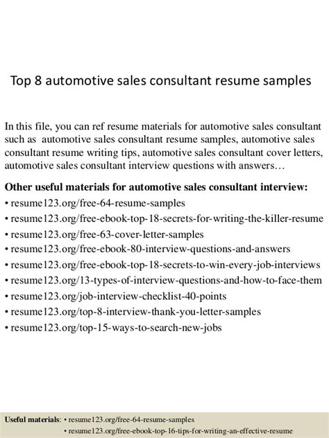 Automotive Sales Consultant Sle Resume by Top 8 Automotive Sales Consultant Resume Sles
