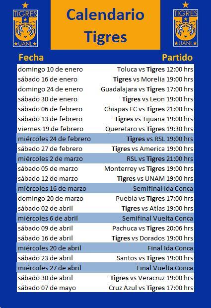 Calendario Liga Mx Tigres Calendario De Tigres 2016 Calendar Template 2018