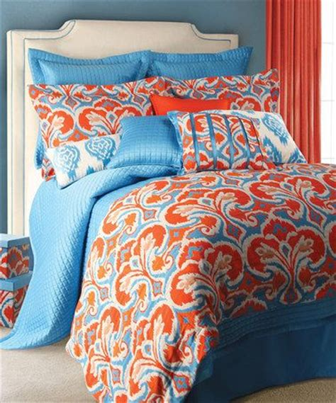 Orange And Blue Quilt Bedding Light Blue Orange Ikat Comforter Set Zulily