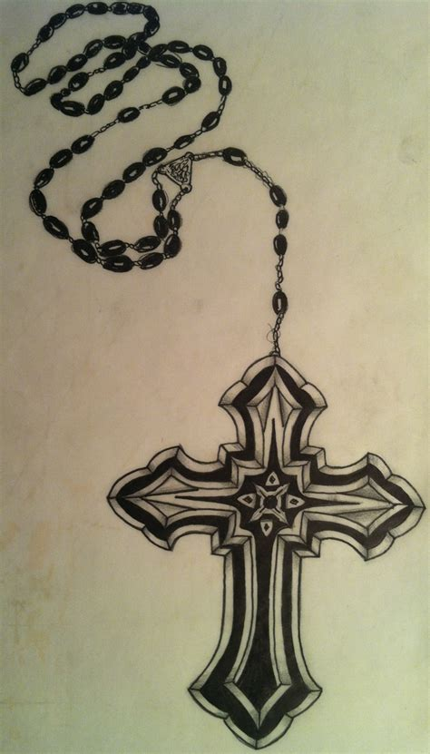 cross and rosary beads tattoo cross and rosery my designs