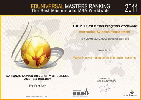 National Taiwan Mba Ranking by Three Programs Of Ntust S School Of Management Are Honored