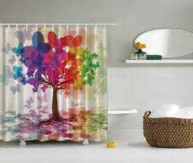Curtains Pink And Green Ideas Rainbow Purple Pink Orange Green Blue Butterfly Tree Fabric Shower Curtain Ebay