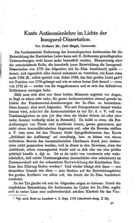 kant inaugural dissertation kants antinomienlehre im lichte der inaugural dissertation
