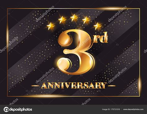 3rd anniversary card template 3 year anniversary celebration vector logo 3rd