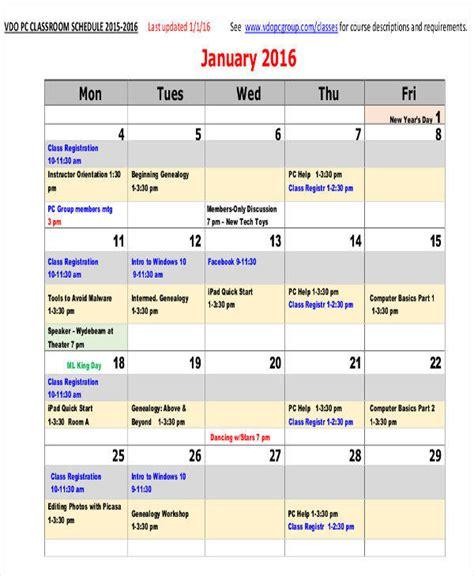 Classroom Calendar 8 Classroom Calendar Template Exles In Word Pdf