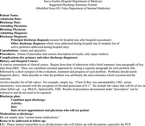 surgery discharge summary template discharge summary template free premium