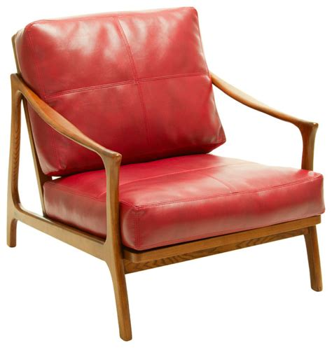 wooden living room chairs coolidge leather and wood armchair red midcentury