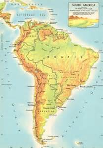 vintage physical map of south america large by