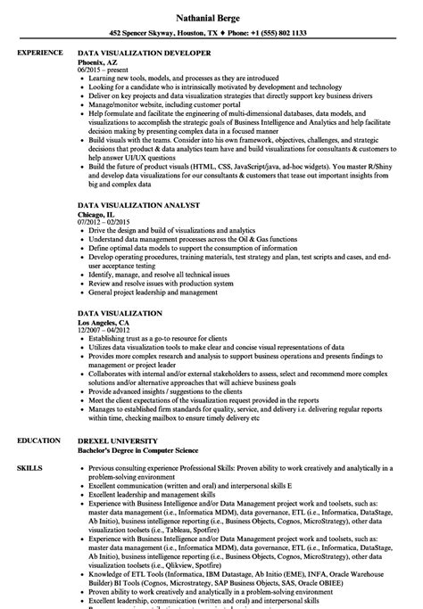 data visualization resume sles velvet