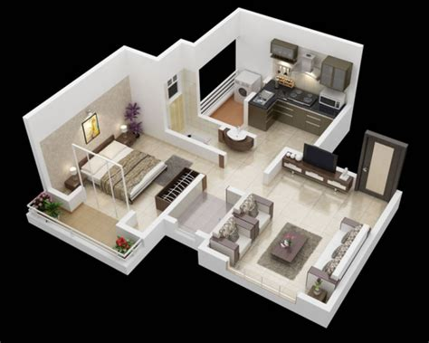 Indian Ukuran Besar Kaos 3d By Square 10 denah apartemen satu kamar tidur 3d dirumahku