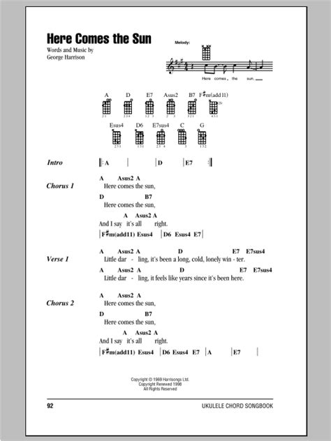 ukulele tutorial here comes the sun here comes the sun sheet music by the beatles ukulele