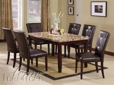 acme furniture granada brown marble top dining table set 17063