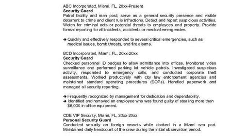 Airport Security Guard Sle Resume by Resume For Airport Security Officer Security Guards Companies