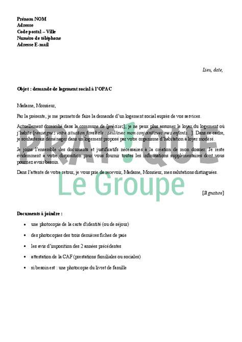 Demande De Logement Social Lettre Gratuite Lettre De Demande De Logement Social 224 L Opac Pratique Fr