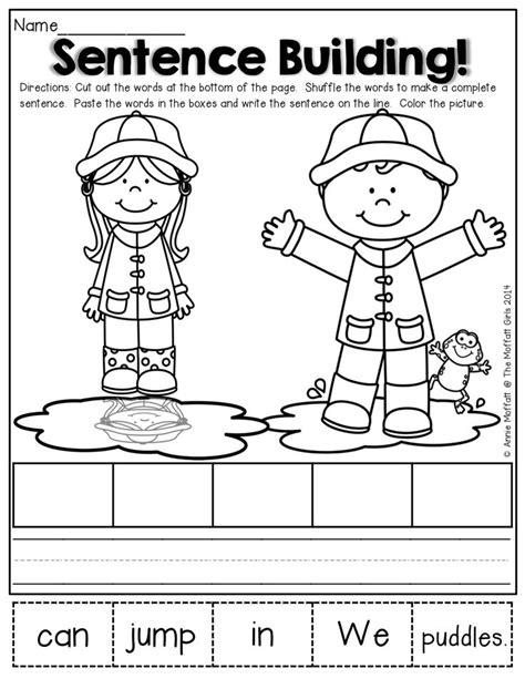 Kindergarten Sentence Building Worksheets by Cut Up Sentences School Stuff