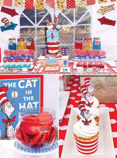 quirky themes party quirky dr seuss cat in the hat first birthday party