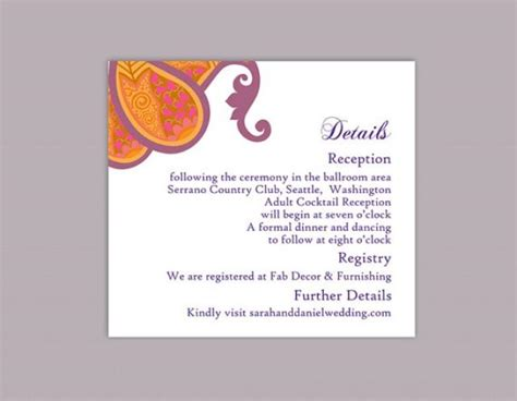 enclosure card template microsoft word diy wedding details card template editable word