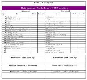 machine maintenance checklist template best photos of maintenance checklist excel template