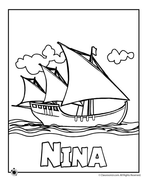 free the nina ship coloring pages