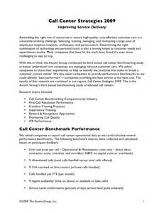 Resume Objective Template Inbound Call Center Strategies Benchmarking Results