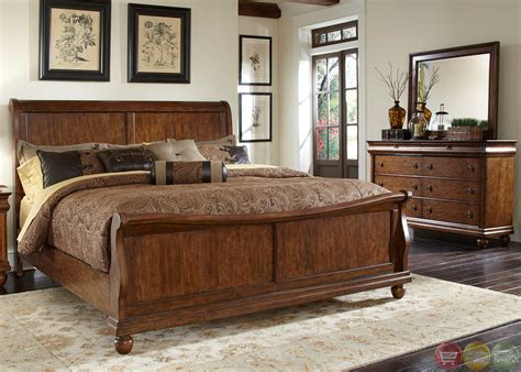 rustic bedroom furniture sets rustic traditions cherry sleigh bedroom furniture set