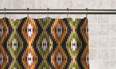 Aztec Print Curtains Aztec Shower Curtain With Hooks Groupon Goods
