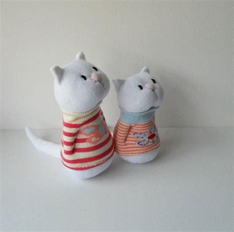 sock cat pair of sock cats sock animal soft sculpture plush