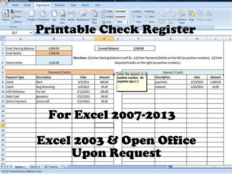 microsoft excel check register template checkbook register spreadsheet check register template